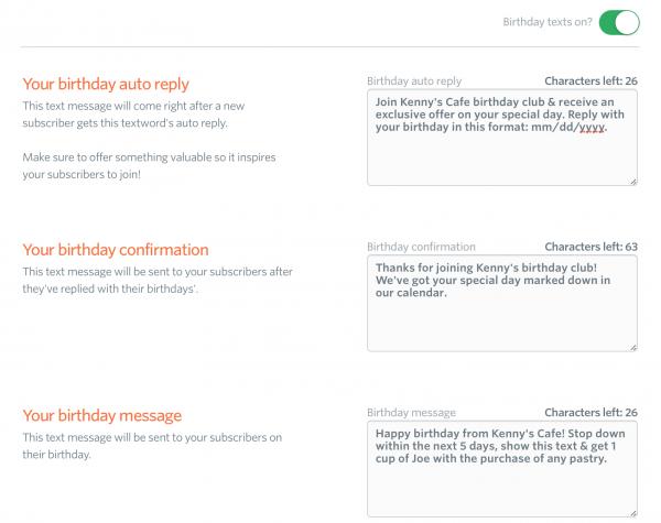 birthday texts feature