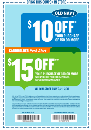 Old Navy text coupon