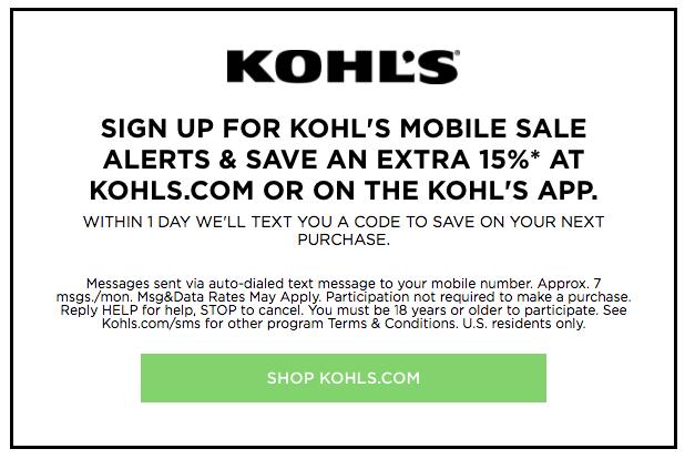 kohl's text coupon