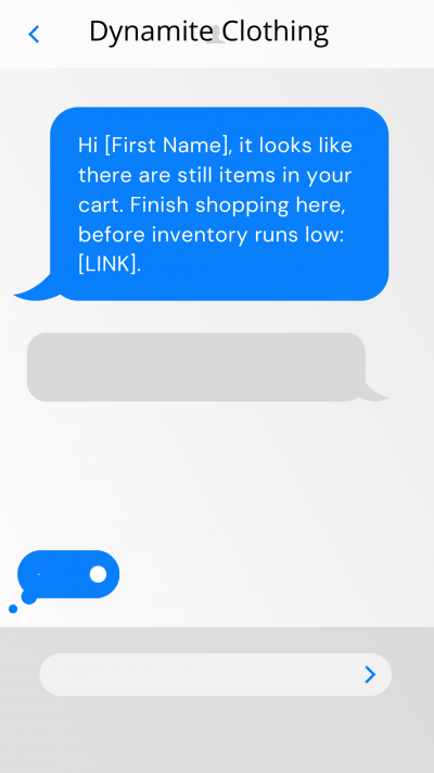 abandoned cart text template